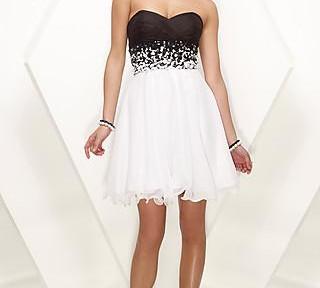 nero vestito corto nero vestito corto senza spalline in bianco e ...